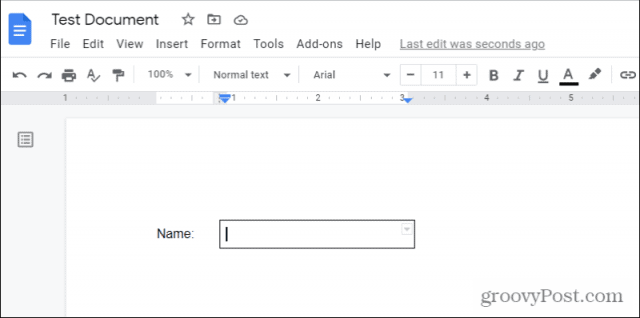 finished fillable text field