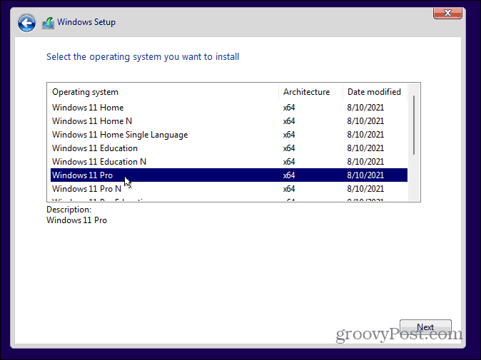 Choose Windows 11 Edition