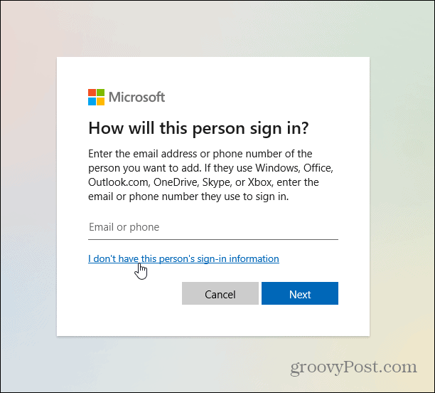 don-t have info msft account