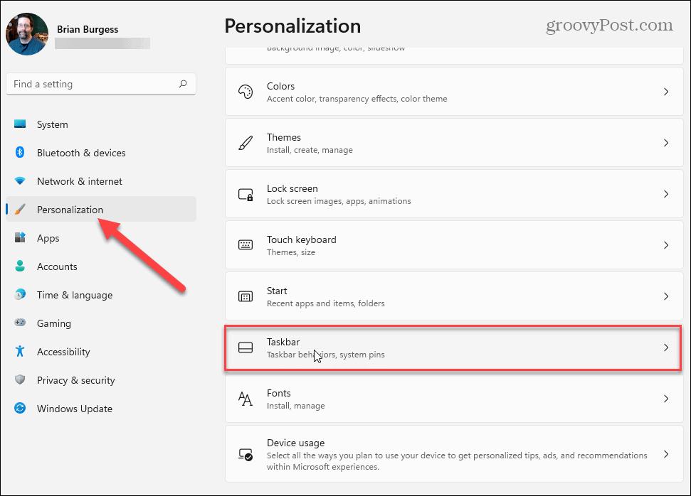 personalization Settings Windows 11