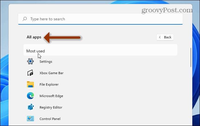 Most Used Apps Windows 11 Start menu