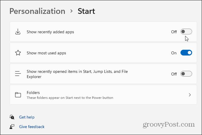 personalization Start windows 11