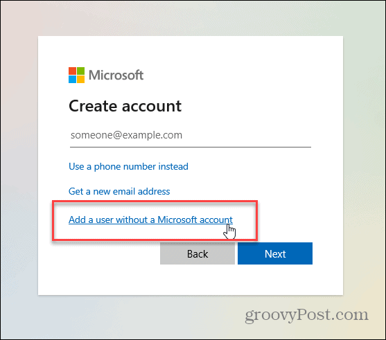 user without microsoft account