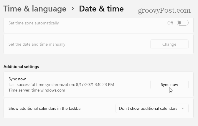 Sync time ad date settings