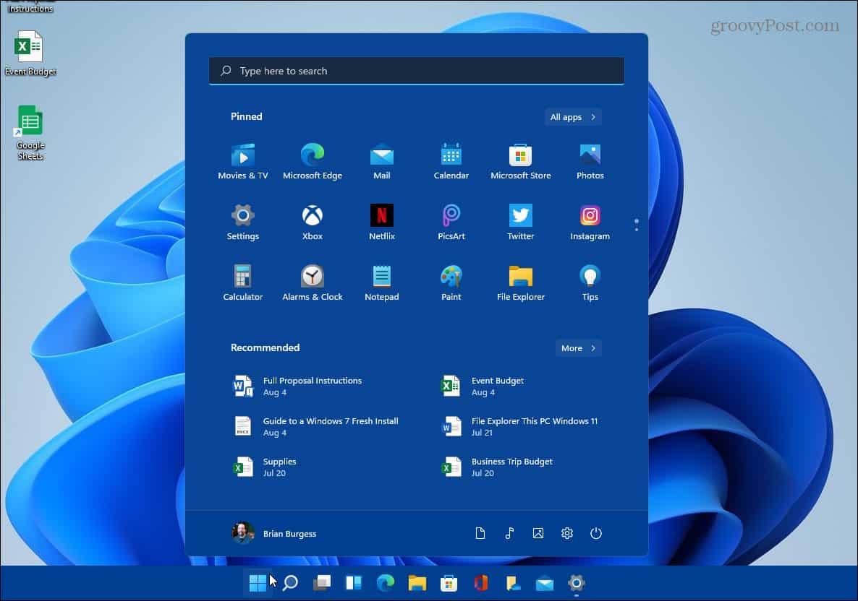 example of changing color start taskbar Windows 11