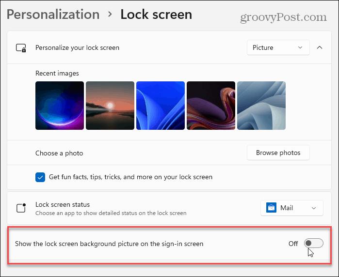 show lock screen background windows 11