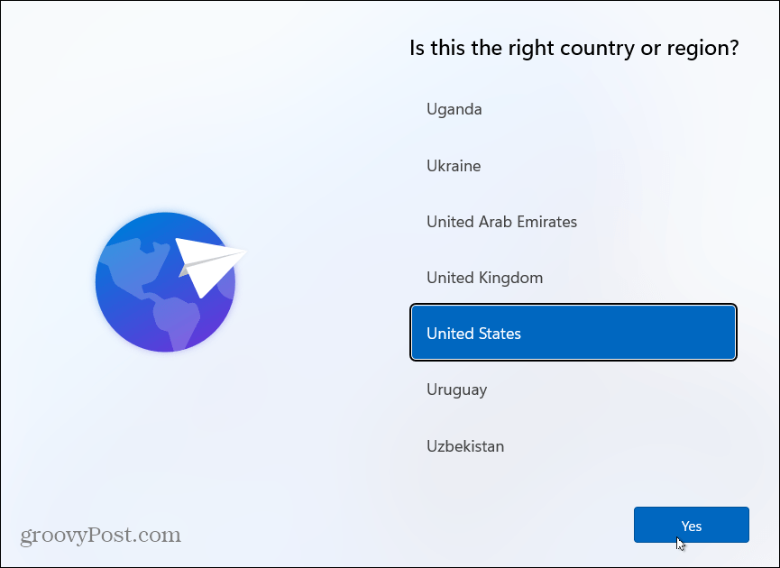 Choose Country Install Windows 11