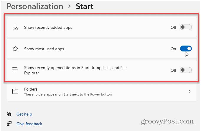 personalization start settings windows 11