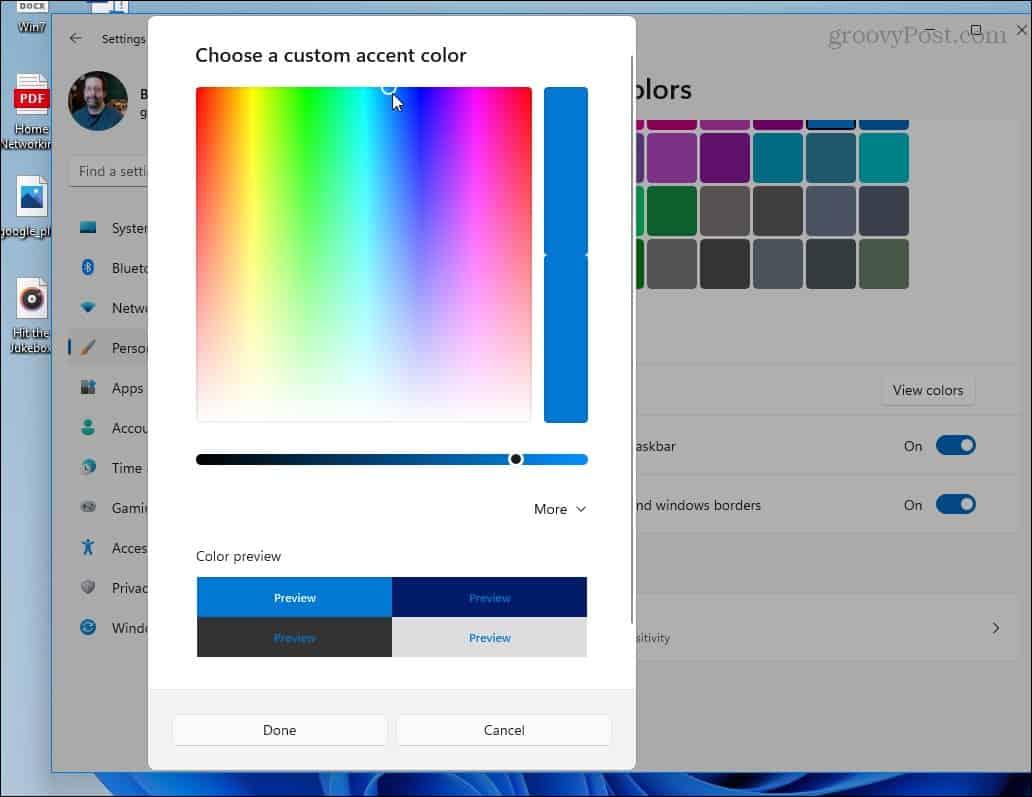custom color slider windows 11