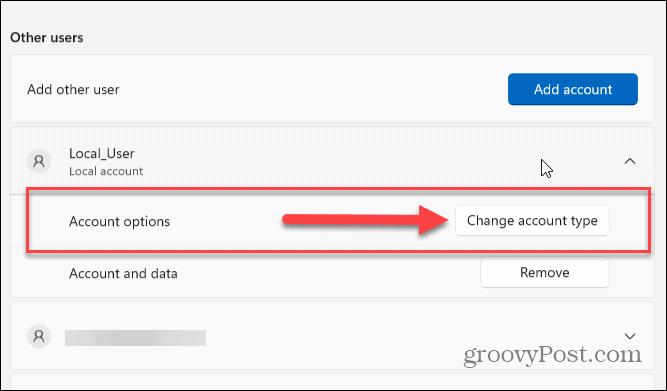 Account options windows 11