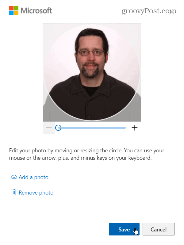 adjust photo and save microsoft account