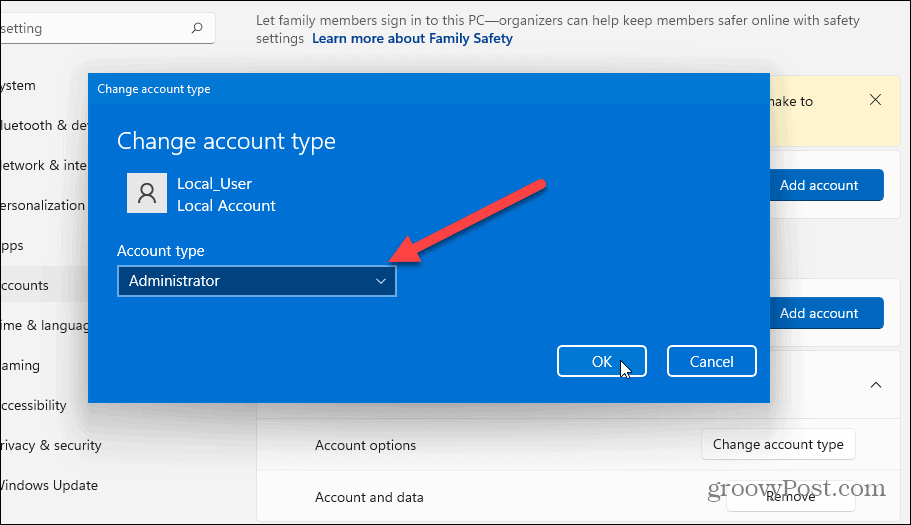 change account type windows 11