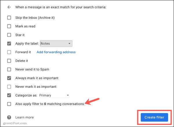 Create filter in Gmail