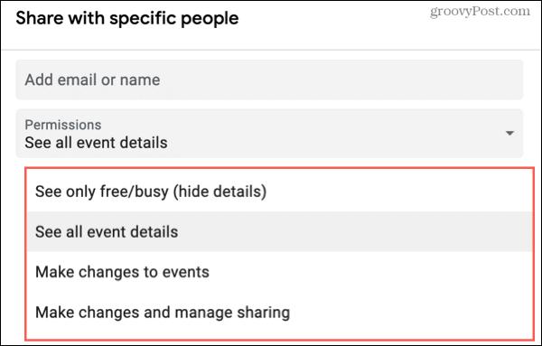 Add people to share a Google Calendar