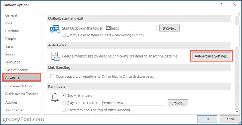 Advanced, AutoArchive Settings in Outlook