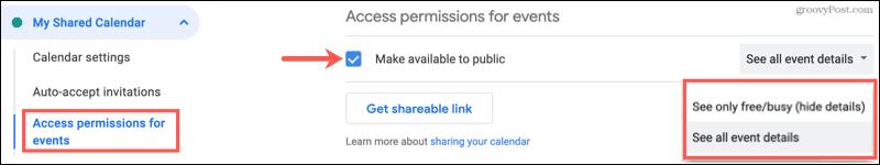 Share a Google Calendar publicly