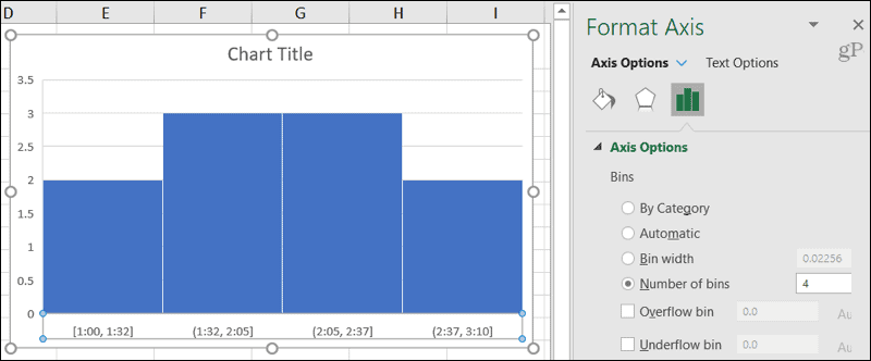 Histogram Axis Options for bins