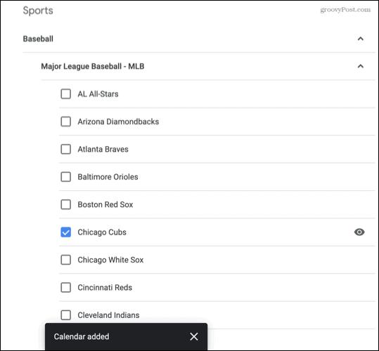 Sports added to Google Calendar