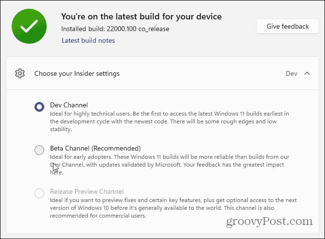 Choose Dev or Beta Channel Windows 11