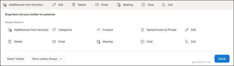 Contacts toolbar