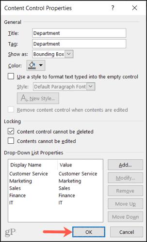 Control Properties, click OK