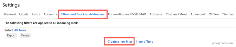 Filters and Addresses, Create a new filter
