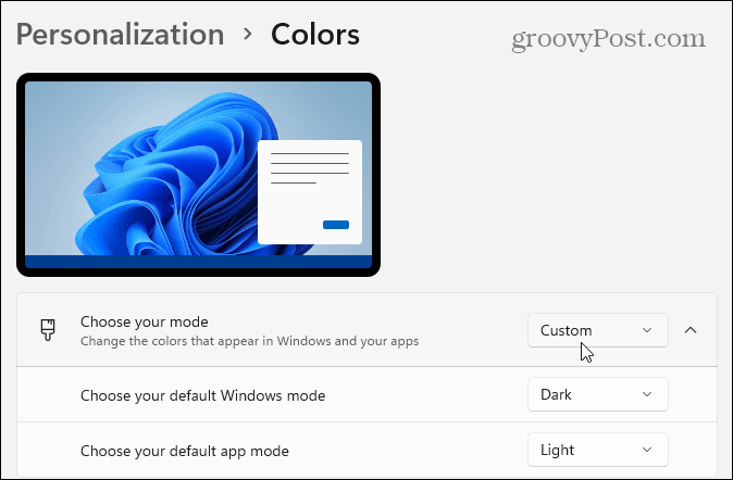 Custom and Dark Options Windows 11
