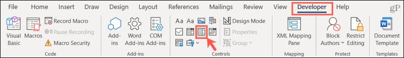 Click Developer, Drop-Down List Content Control