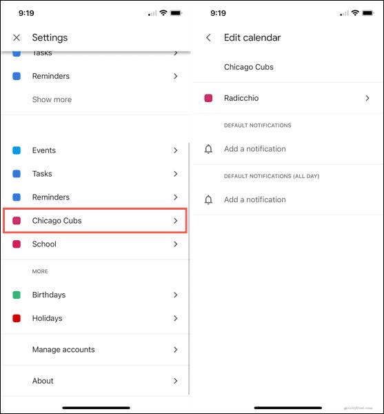 Edit sports calendar in Google Calendar app