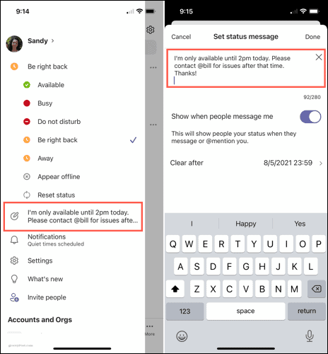 Edit or delete a status message on mobile