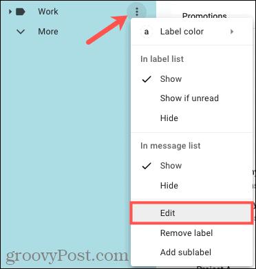 Edit a label in the menu