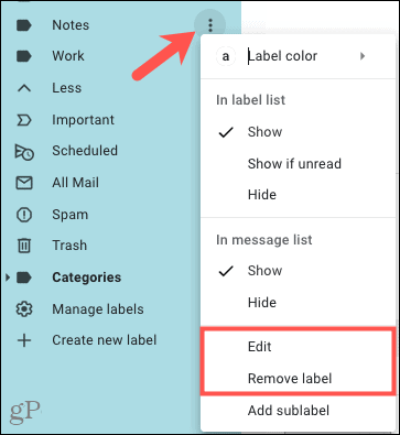 Edit or Remove a label in the menu