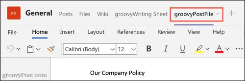 File tab in Teams