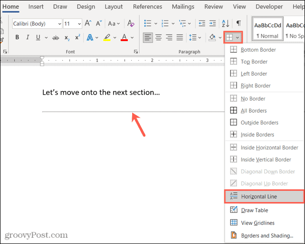 Insert a Horizontal Line in Word