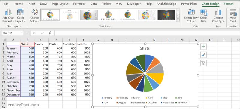 Pie chart in an Excel sheet