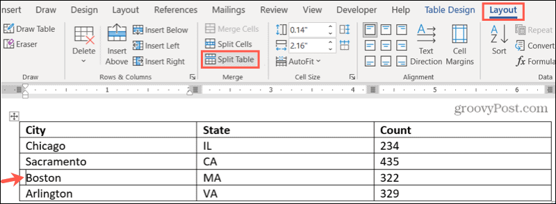 Go to Layout, Split Table