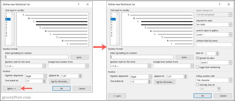 More multilevel list settings