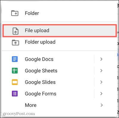 Click New, File Upload