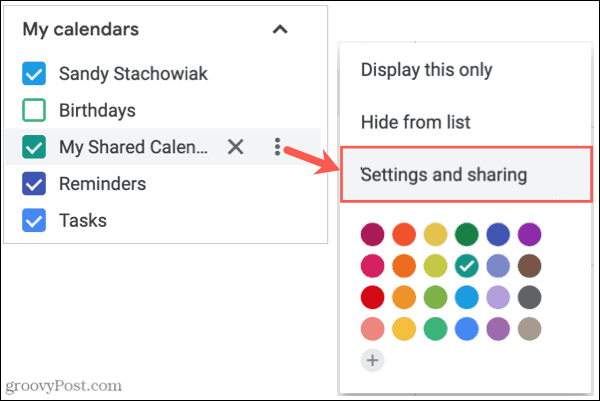Options, Settings and Sharing