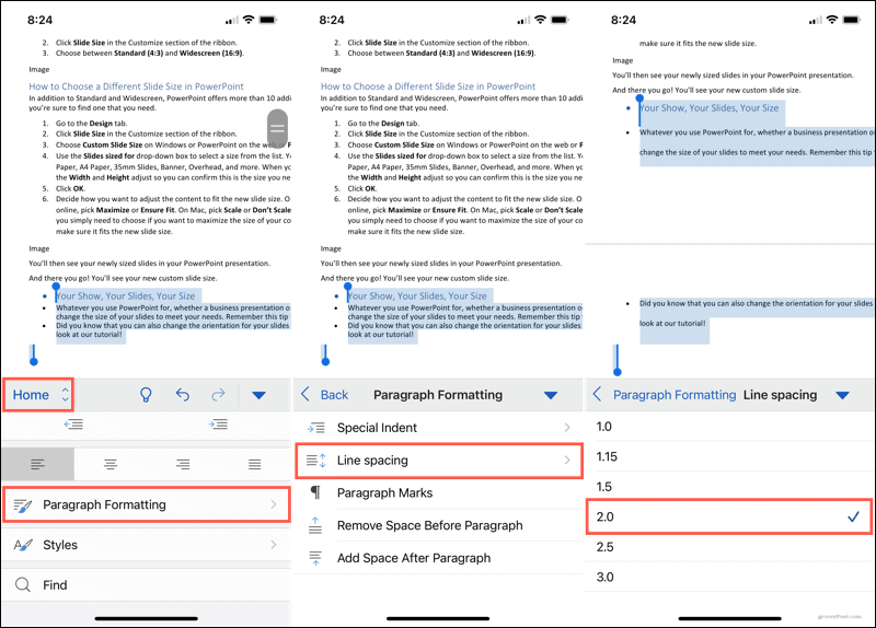 Paragraph Formatting, Line Spacing in Word on mobile