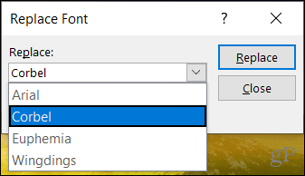 Replace font