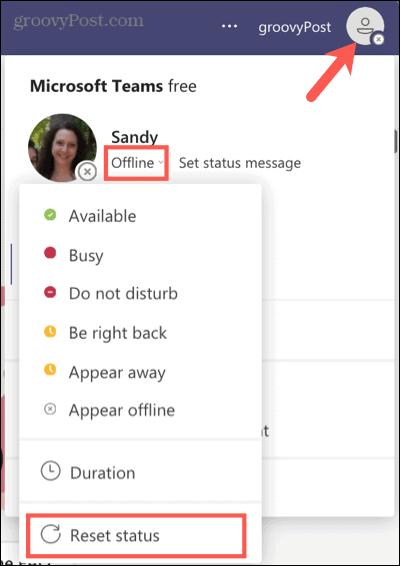 Reset your status in Teams