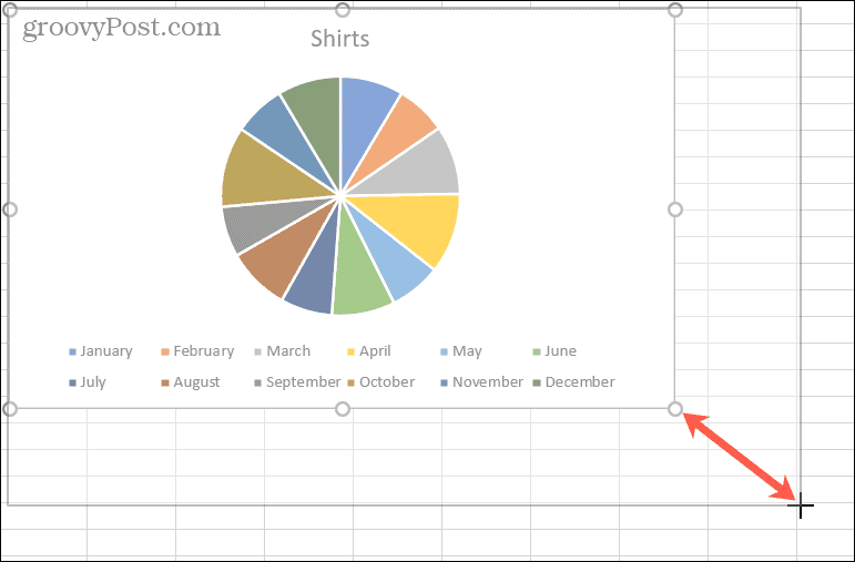 Drag a corner to resize a chart
