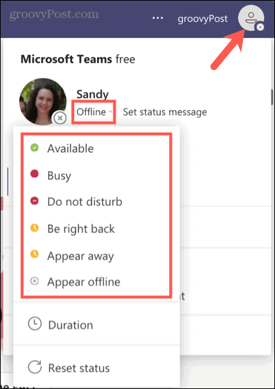 Select a current status in Microsoft Teams