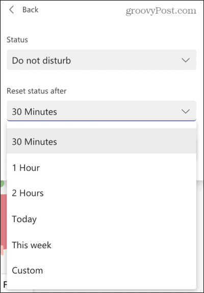Select a status duration