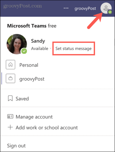 Set a status message in Microsoft Teams