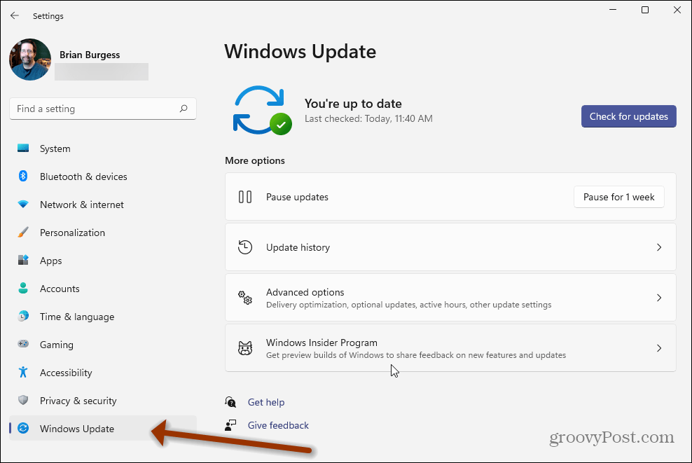 Settings Windows 11 Windows Update