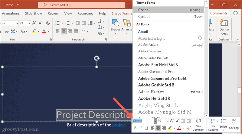 Fonts in the toolbar in PowerPoint on Windows