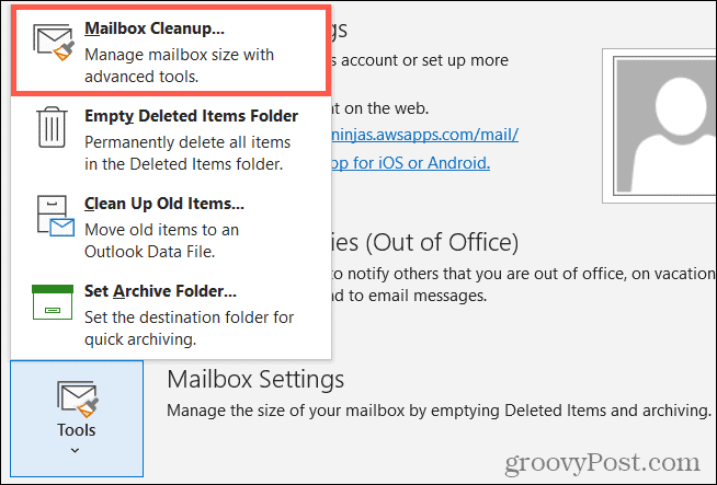 Tools, Mailbox Cleanup in Outlook