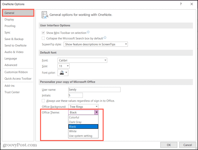 Choose Office Theme, Black in OneNote
